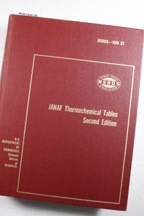 Janaf Thermochemical Tables 2ND Edition NSRDS-NBS 37 ISBN:
